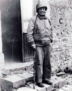 """Brigadier General Theodore Roosevelt, Jr., seen in Ste. Mere-Eglise on July 12, hours before he died of a coronary thrombosis. Arthritis caused him to walk with a stick. The 4th Infantry Division commander described him as """"the most gallant soldier and finest gentleman I have ever known."""" Theodore Roosevelt Jr, Roosevelt Family, Milwaukee, 4th Infantry Division, Normandy Beach, Man Of War, One Wave, American Presidents, World History"""