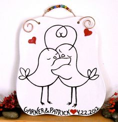 Shop for on Etsy, the place to express your creativity through the buying and selling of handmade and vintage goods. Wedding Plaques, Wedding Crafts, Wedding Stuff, Just Because Gifts, Pictures To Paint, Simple Art, Wall Plaques, Love Birds, Diy And Crafts