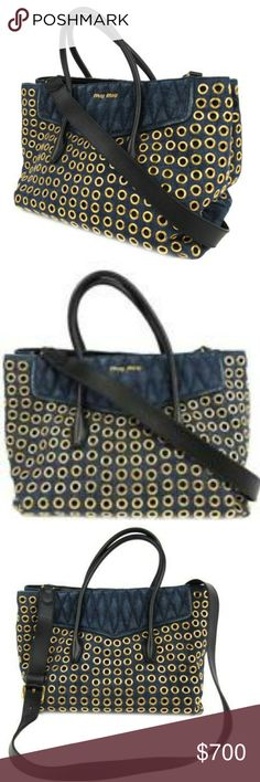 Miu Miu Denim Biker Bag with Grommets MIU MIU Denim Bag with Grommets 100% AUTHENTIC  Excellent condition  No issues with leather, denim, grommets, inside or outside. Original Price $1875 Miu Miu Bags Totes