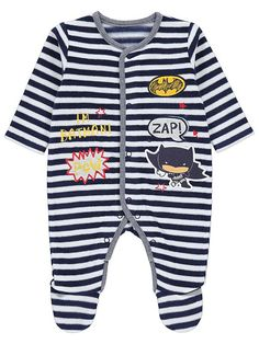 Keep your little Batman snug in this adorable striped sleepsuit. Featuring a cartoon appliqué design, this soft addition comes with press-stud fastenings for fuss-free dressing. Batman Baby Clothes, Comic Clothes, Baby Batman, Baby Clothes Online, Kid Character, Asda, Latest Fashion For Women, Baby Boy Outfits, Nightwear