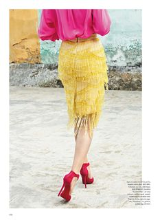 india song: anais pouliot in Miu Miu skirt by sonia sieff for madame air france june/july 2014