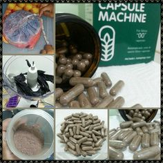 """DIY Placenta Encapsulation (raw method): After admiring the beauty of my placenta, I used my Excalibur 5-tray dehydrator (118° for 2 days), a basic food processor, magic bullet (bullet worked better + less cleanup), The Capsule Machine, """"00"""" veggie capsules, & an amber glass jar to make this medicinal dream come true! Great for postpartum concerns & women's health: low milk supply, hemorrhages, lochia, depression, hormone regulation, pms, menopausal symptoms, and much more! Isn't it…"""