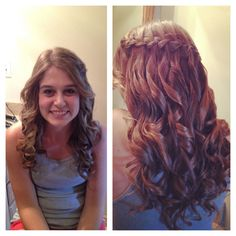 Aubries waterfall braid with curly hair <3 I'm pretty proud of myself (;