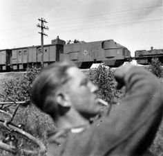 A great shot of a Panzerzug number 2 military train consist.