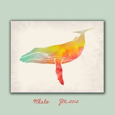 Whale Art Print  Watercolor Painting Animal by RoveStudio on Etsy, $20.00