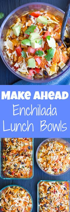 Make Ahead Enchilada Lunch Bowls - Make these on Sunday and you'll have lunch for the whole week! They're easy, healthy, filling and flavorful! Gluten free and vegan too!