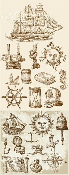 Love the map. Vintage nautical design elements -- Saving this! I love everything nautical. Future Tattoos, New Tattoos, Naval Tattoos, Tatoos, Nautical Design, Nautical Theme, Geniale Tattoos, Vintage Nautical Tattoo, Nautical Drawing