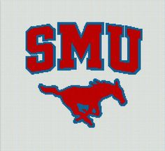 $5 - SMU - Crochet Afghan Pattern - Southern Methodist University Mustangs by AngelicCrochetDesign on Etsy