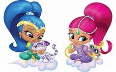 shimmer and shine - Bing images Birthday Party At Park, 4th Birthday Parties, Shimmer And Shine Characters, Shimmer And Shine Cake, Cute Characters, Cool Cartoons, Disney Frozen, Baby Dolls, Hello Kitty