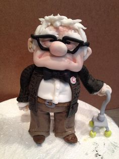 """Carl from Pixars """"UP"""" movie! All fondant, the size of a water bottle! Designed by Sam Lucero-cake decorator Disney Up Cake, Disney Pixar Up, Cupcake Party, Cupcake Cakes, Cupcakes, Milo Cake, Biscuit, Dad Birthday Cakes, House Cake"""
