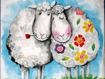 Napkins - two sheep, Sheep Paintings, Happy Paintings, Sheep Art, Knitting Humor, Sheep And Lamb, Animal Cards, Happy Animals, Whimsical Art, Art Plastique