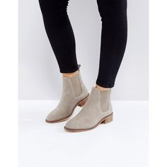 ASOS ABSOLUTE Suede Chelsea Ankle Boots ($57) ❤ liked on Polyvore featuring shoes, boots, ankle booties, beige, small heel booties, beige chelsea boots, low heel boots, suede ankle booties and chelsea bootie