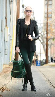 Blazer: BCBG, Pants: Theory, Top: Robbi & Nikki, Bag: gifted Rebecca Minkoff, Boots: Stuart Weitzman, Bracelets: J.Crew, Jennifer Fisher, Ring: OhKuol, Sunglasses: Dior, Necklace: Givenchy