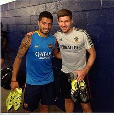 Luis Suarez and Steven Gerrard before the friendly game between Barcelona vs LA Galaxy, 21 July 2015