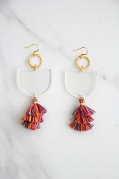 38fcb82fc4ae77 Acrylic Dangle Tassel Earrings - Clear & Rainbow – The Impeccable Pig