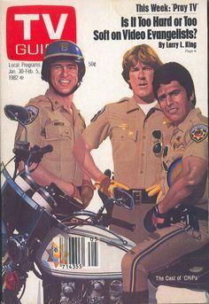 "January Robert Pine, Larry Wilcox, and Erik Estrada of NBC's ""CHiPs"" (illus. Larry Wilcox, Great Tv Shows, Old Tv Shows, Guide Tv, Sean Leonard, Nostalgia, Vintage Television, Little Bit, Vintage Tv"