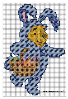 POOH as Easter bunny x-stitch
