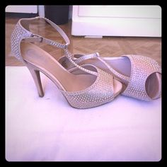 Gold Beaded heels Good condition. Candie's Shoes Heels