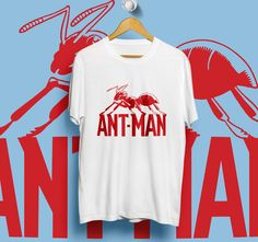 ANT MAN RED ant WHITE T-Shirt Unisex Size S,M,L,XL #Unbranded #ShortSleeve