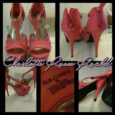 "CHARLOTTE RUSSE ""RACHEL"" PUMPS Very pretty Rachel suede pumps by Charlotte Russe  Look brand new but did wear one time on carpet. There are no scratches on bottoms even.   Fuscha color Suede leather 6 inch heels Zippers up backs Size 6 Charlotte Russe Shoes Heels"