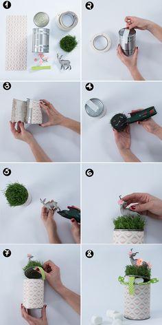 Purim DIY tutorial - Recycled tin can into a beautiful & creative chocolate gift box. Designed by Dana israeli