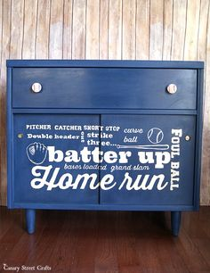 MCM baseball subway art cabinet.  Painted with Annie Sloan's Napoleonic Blue. {Canary Street Crafts}