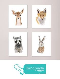Set of 4 Woodland Nursery Prints, Baby Animal Portraits - Deer, Fox, Raccoon, and Rabbit - Various Sizes Available from Tiny Toes Design by Brett Blumenthal http://www.amazon.com/dp/B0168YGMN0/ref=hnd_sw_r_pi_dp_qAC9wb1VTP7EP #handmadeatamazon