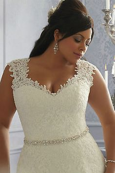 Plus Size White/Ivory Satin Lace Beads Bridal Gown Wedding Dress16 18 20 22 24++