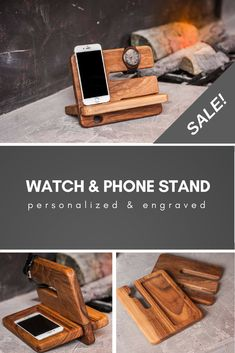 Make a perfect gift with 15% discount now! Personalize wood watch stand. Custom phone stand, Wooden watch phone holder, Personalized organizer, Desk station,Wood stand gift https://www.etsy.com/listing/563878909/personalize-wood-watch-standcustom-phone?ref=shop_home_active_3