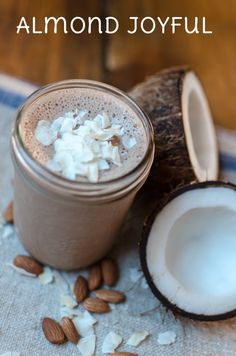Make the Almond Joyful with ¼ cup Bob's Red Mill soy protein powder, 2 Tbsp almond butter, 1 Tbsp cocoa powder, 2 tsp honey, 1cup coconut milk, a handful of ice - blend and enjoy!