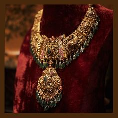 Traditional Temple Jewellery Necklace crafted in 22 carat gold and embedded with emeralds, rubies and uncut diamonds from the Sabyasachi Jewelry Collection Kids Gold Jewellery, Buy Gold Jewellery Online, Real Gold Jewelry, Gold Jewellery Design, Temple Jewellery, India Jewelry, Handmade Jewellery, Latest Jewellery, Antique Jewellery