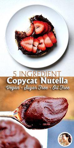 Nutella recipe, Sugar Free, Oil Free, Copycat  (Vegan) via @SunnysideHanne
