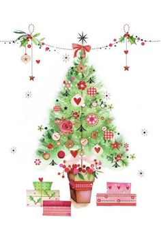 Christmas Tree- By: Lynn Horrabin Christmas Clipart, Noel Christmas, Vintage Christmas Cards, Christmas Printables, Christmas Wishes, Christmas Pictures, Winter Christmas, All Things Christmas, Xmas Cards