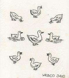 VINTAGE EMBROIDERY TRANSFER - A SHEET OF MINI DUCK MOTIFS