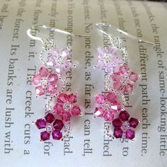 Sterling Silver Colorful Crystal Flower Earrings (USA) | Overstock.com Shopping - The Best Deals on Earrings