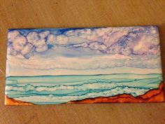 Pamela Makes Stuff: Alcohol Ink landscape. Excellent tutorial on creating dotted areas.