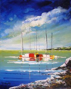 Les bateaux (14) - Painting,  24x30x1 cm ©2013 par Eric Bruni -  Peinture, Huile