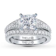 1.26 Carat J-VS1 Very Good Cut Princess Diamond plus Leo Bridal Setting 5/8 ct tw Diamonds 14K White Gold
