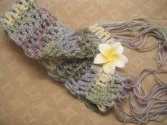 Soft Pastels Hand Crocheted Scarf