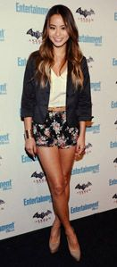 Jamie Chung - Lucca Couture Floral Shorts, Silk Tank, Blazer