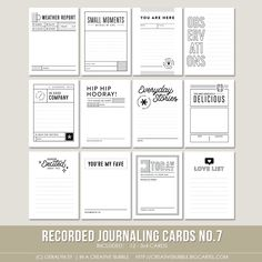 Recorded Journaling Cards No.7 (Digital)