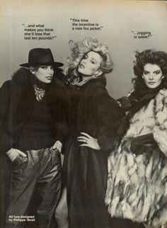 US Vogue October 1983 Models Kelly Emberg, Jerry Hall, Rene Russo