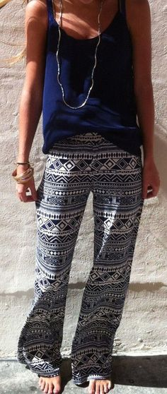 Blue Geometric Print Elastic Waist National Long Pants - Pants - Bottoms