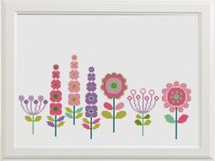 Floral Cross Stitch, Flower Cross Stitch Pattern, Modern Colorful Embroidery Chart, Printable PDF, Baby Decor Birthday Gift Funny and Easy ❤ ❤ ❤ You can always find and download them here: You> Purchases and reviews ❤ PATTERN DETAILS ❤ 2 PDF Pattern Stitches: 142 X 62, 162 x 80