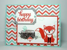 handmade birthday card from Perry Papercrafts ... colors from patterned paper used for everything ... fox ... Stampin' Up!
