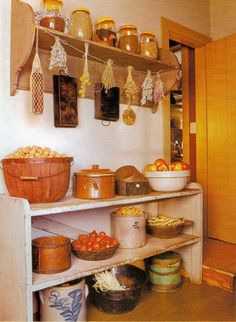 love the old crocks and buckets, oh and of course the shelves