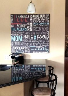Word art - such a fun way to put your personal touch on your space! Loving this custom canvas!