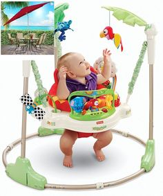 Fisher Price Rainforest Jumperoo Baby Walker Comfortable Rotating Seat K7198  #FisherPrice