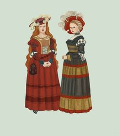 """Saxon 1500-1540 Saxon dress, worn in some part of Germany in between c. 1500 and 1540. It's often known as the """"Cranach dress"""", as it shows a lot in his paintings. Dress was clearly inspired by the Kampfaru style ( tadarida.deviantart.com/art/Ka…), but with much better fabrics (silk, taffeta, brocade) , more jewellery and more detailed embroidery. Dress would have an open front with an embroidered brustfleck underneath and slashed sleeves.2by Tadarida.deviantart.com on @DeviantArt"""