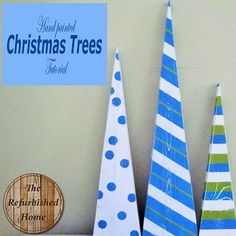 Hand Painted Triangle Christmas Trees- DIY Tutorial- from The Refurbished Home